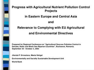 Progress with Agricultural Nutrient Pollution Control Projects  in Eastern Europe and Central Asia