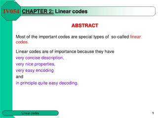 CHAPTER  2 : Linear  codes