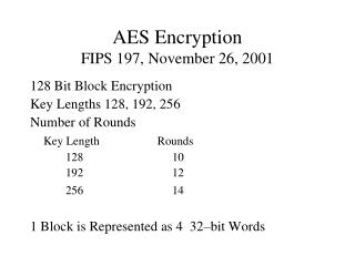 AES Encryption FIPS 197, November 26, 2001