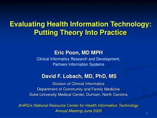 Evaluating Health Information Technology:  Putting Theory Into Practice