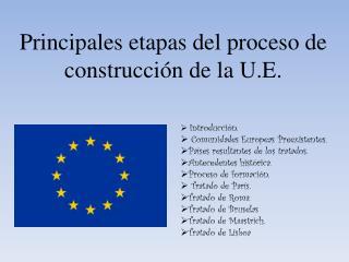 Principales etapas del proceso de construcción de la U.E.