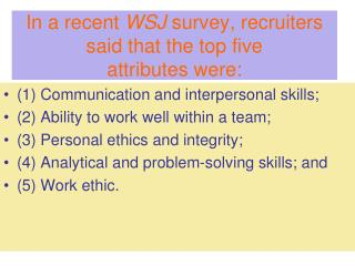 In a recent  WSJ  survey, recruiters said that the top five attributes were: