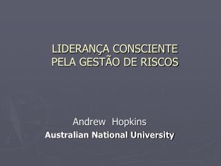 LIDERANÇA CONSCIENTE PELA GESTÃO DE RISCOS
