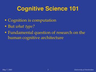 Cognitive Science 101