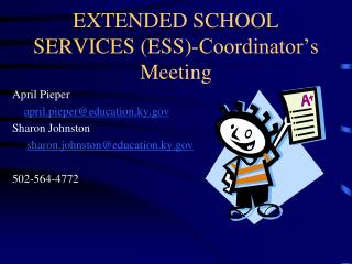 EXTENDED SCHOOL SERVICES (ESS)-Coordinator's Meeting
