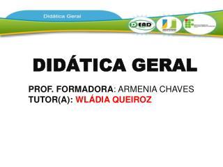 DIDÁTICA GERAL PROF. FORMADORA : ARMENIA CHAVES TUTOR(A):  WLÁDIA QUEIROZ