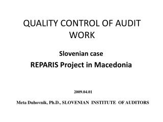 QUALITY CONTROL OF AUDIT WORK