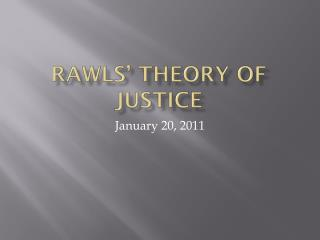 Rawls' Theory of Justice