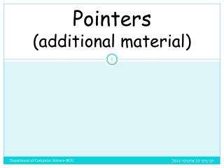 Pointers (additional material)