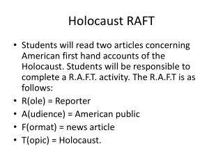 Holocaust RAFT