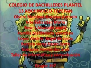 COLEGIO DE BACHILLERES PLANTEL 13 XOCHIMILCO-TEPEPAN Olvera Martínez Gustavo Antonio
