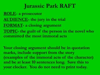 Jurassic Park RAFT