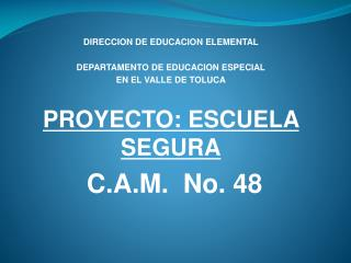 DIRECCION DE EDUCACION ELEMENTAL DEPARTAMENTO DE EDUCACION ESPECIAL EN EL VALLE DE TOLUCA