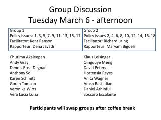 Group Discussion Tuesday March 6 - afternoon