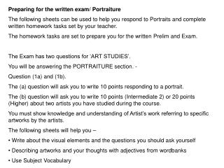 Preparing for the written exam/ Portraiture