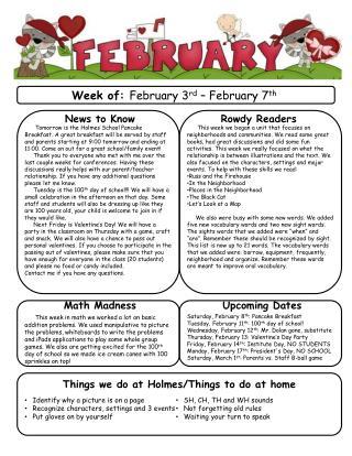 Week of:  February 3 rd  – February 7 th