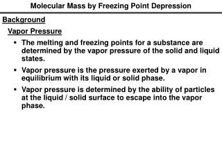 Molecular Mass by Freezing Point Depression