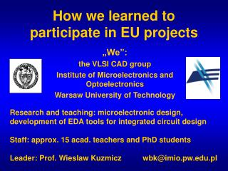 How we learned to participate in EU projects