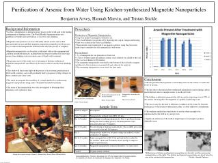 Purification of Arsenic from Water Using Kitchen-synthesized Magnetite Nanoparticles