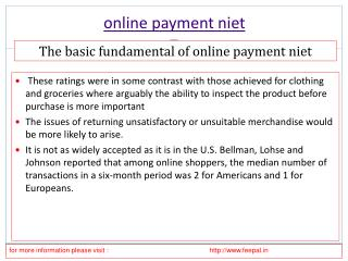Select the best option of online payment niet