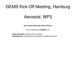 GEMS Kick-Off Meeting, Hamburg Aerosols: WP3
