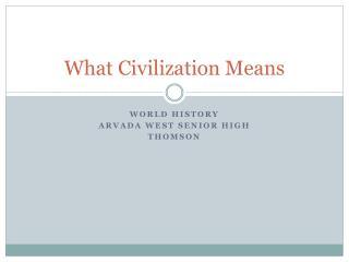 What Civilization Means