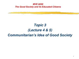 MVE 6030 The Good Society and its Educated Citizens