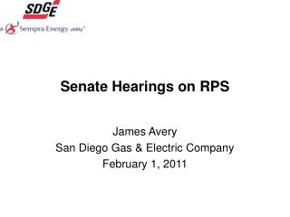 Senate Hearings on RPS