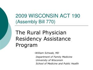 2009 WISCONSIN ACT 190 (Assembly Bill 770)