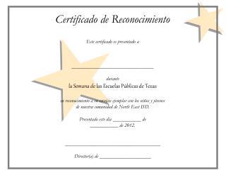Certificado de Reconocimiento Este certificado es presentado a ________________________________