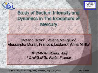 Study  of Sodium Intensity and Dynamics in The Exosphere of Mercury