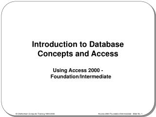 Introduction to Database Concepts and Access