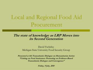 Local and Regional Food Aid Procurement