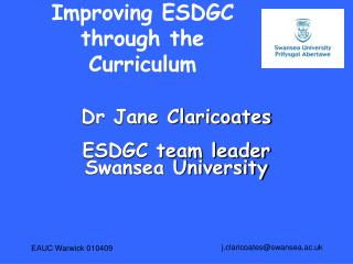 Improving ESDGC through the Curriculum