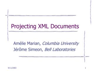 Projecting XML Documents