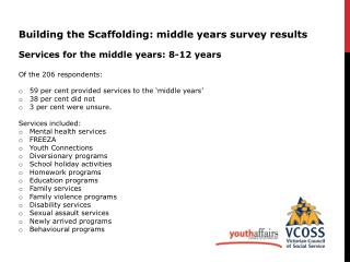 Building the  Scaffolding: middle years survey results