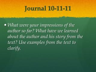 Journal 10-11-11