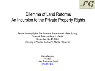 Dilemma of Land Reforms An Incursion to the Private Property Rights