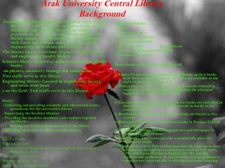 Arak University Central Library Background