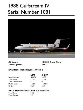 1988 Gulfstream IV Serial Number 1081
