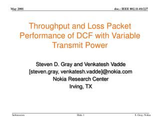 Throughput and Loss Packet Performance of DCF with Variable Transmit Power