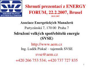 Shrnutí prezentací z ENERGY FORUM, 22.2.2007, Brusel 08.03.2007