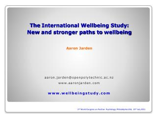 The International Wellbeing Study: New and stronger paths to wellbeing