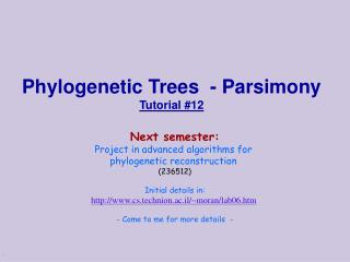 Phylogenetic Trees  - Parsimony Tutorial #12