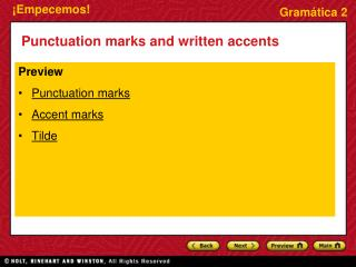 Punctuation marks and written accents