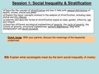Session 1: Social Inequality & Stratification