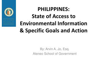 PHILIPPINES:  State of Access to Environmental Information & Specific Goals and Action