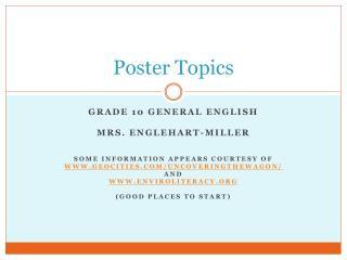 Poster Topics