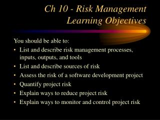 Ch 10 - Risk Management Learning Objectives