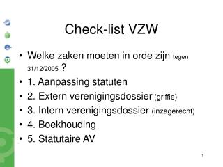 Check-list VZW